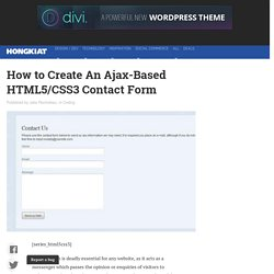 How to Create An Ajax-Based HTML5/CSS3 Contact Form