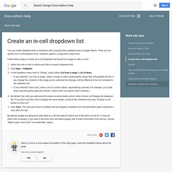 Create an in-cell dropdown list - Docs editors Help