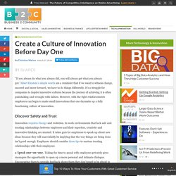 Create a Culture of Innovation Before Day One
