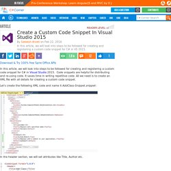 Create a Custom Code Snippet In Visual Studio 2015