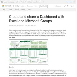 Create and share a Dashboard with Excel and Microsoft Groups