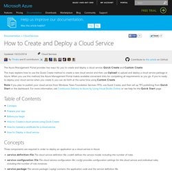 How to create and deploy a cloud service
