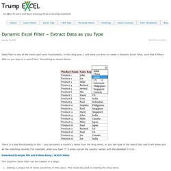 How to Create Dynamic Excel Filter (Extract data as you Type)