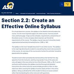 2.2 Create an Effective Online Syllabus