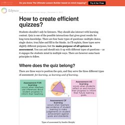 How to create efficient quizzes?