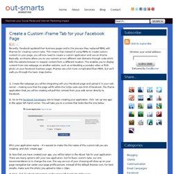 Create a Custom iFrame Tab for your Facebook Page | Out-Smarts Marketing Inc