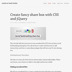 Create fancy share box with CSS and jQuery