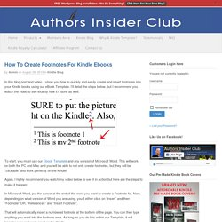 How To Create Footnotes For Kindle Ebooks - Kindle Template - Ebook Template