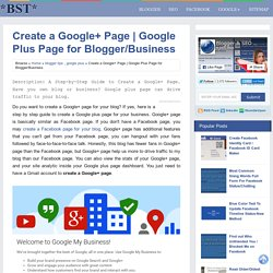 Google Plus Page for Blogger/Business