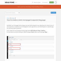 How to create a static homepage & separate blog page / Solo Pine