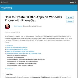 How to Create HTML5 Apps on Windows Phone with PhoneGap