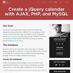 Create a jQuery calendar with AJAX, PHP, and MySQL