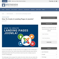 How To Create A Landing Pages In Joomla? - Web Development - TTI Trends