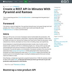 Create a REST API in minutes with Pyramid and Ramses