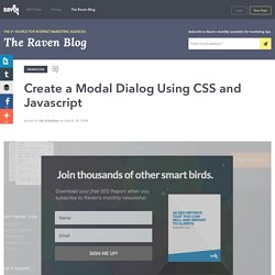 Create a Modal Dialog Using CSS and Javascript