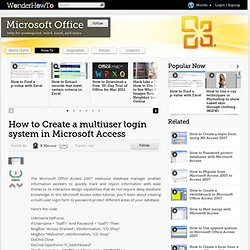 How to Create a multiuser login system in Microsoft Access « Microsoft Office