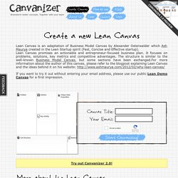 Create a new Lean Canvas - Canvanizer