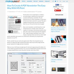 How To Create A PDF Newsletter The Easy Way With MS Paint