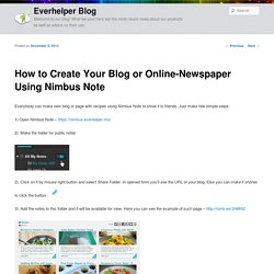 How to Create Your Blog or Online-Newspaper Using Nimbus Note