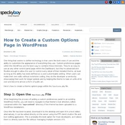 How to Create a Custom Options Page in Wordpress