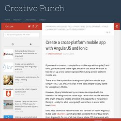 Create a cross-platform mobile app with AngularJS and Ionic