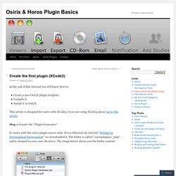 Create the first plugin (XCode3)