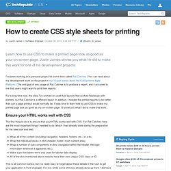 How to create CSS style sheets for printing