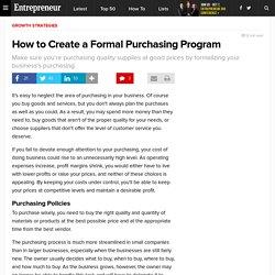 How to Create a Formal Purchasing Program