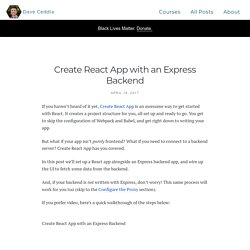 Create React App with an Express Backend