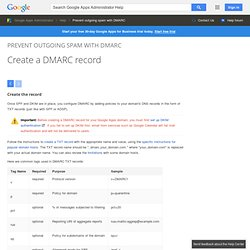 Add a DMARC record - G Suite Administrator Help