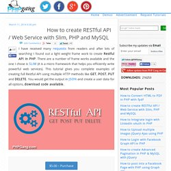 Create RESTful API / Web Service with Slim, PHP and MySQL