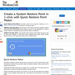 Create a Restore Point with single click in Windows with Quick R