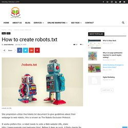 How to create robots.txt How to create robots.txt - SSEDUCATIONLAB