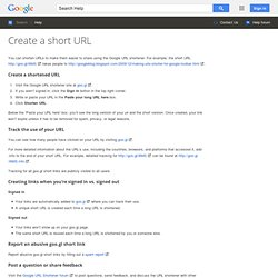 URL shortener : Features - Web Search Help