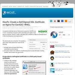 Create a Self-Signed SSL Certificate on Nginx For CentOS / RHEL
