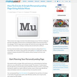 How To Create A Simple Personal Landing Page Using Adobe Muse