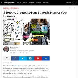 5 Steps to Create a 1-Page Strategic Plan for Your Business