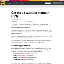 Create a stunning menu in CSS3