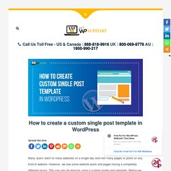How to create a custom single post template in WordPress