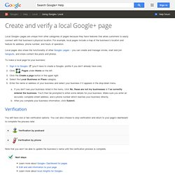 Create a local Google+ page - Google+ Help