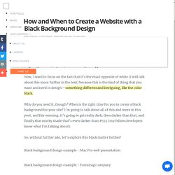 How and When to Create a Website with a Black Background Design
