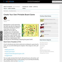 Create Your Own Printable Board Game