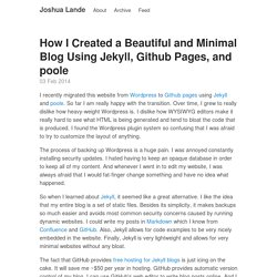 How I Created a Beautiful and Minimal Blog Using Jekyll, Github Pages, and poole · Joshua Lande