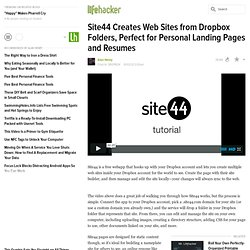 Site44 Creates Web Sites from Dropbox Folders, Perfect for Personal Landing Pages and Resumes