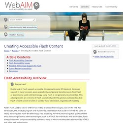 Creating Accessible Flash Content
