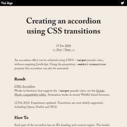 Creating an accordion using CSS transitions — Paul Hayes