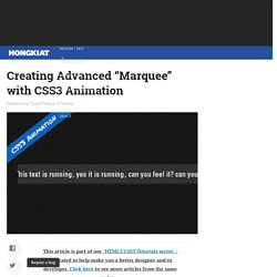 "Creating Advanced ""Marquee"" with CSS3 Animation"