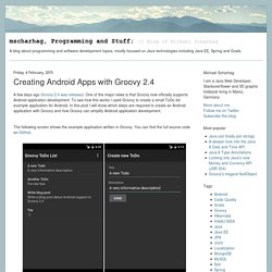 Creating Android Apps with Groovy 2.4