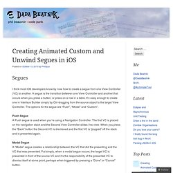 Creating Animated Custom and Unwind Segues in iOS