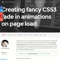 Creating fancy CSS3 Fade in / animation on page load using keyframes
